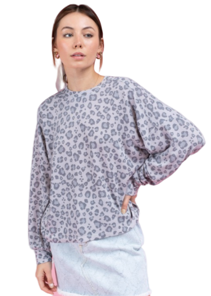 Gray Leopard Long Sleeve Pullover