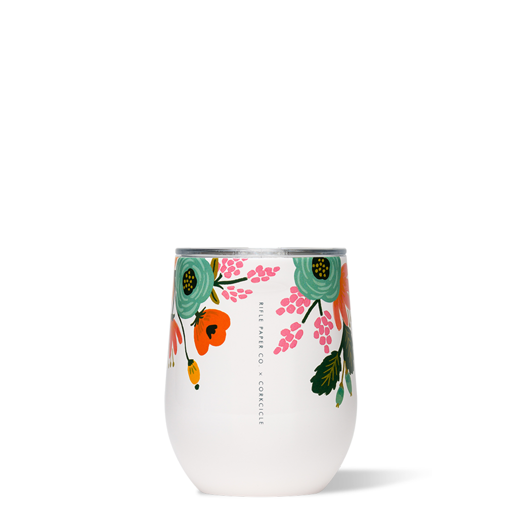Corkcicle 12oz Stemless, Lively Floral Cream