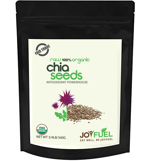 Joyfuel Premium Organic Chia Seeds (2 Sizes: 12oz & 32oz)