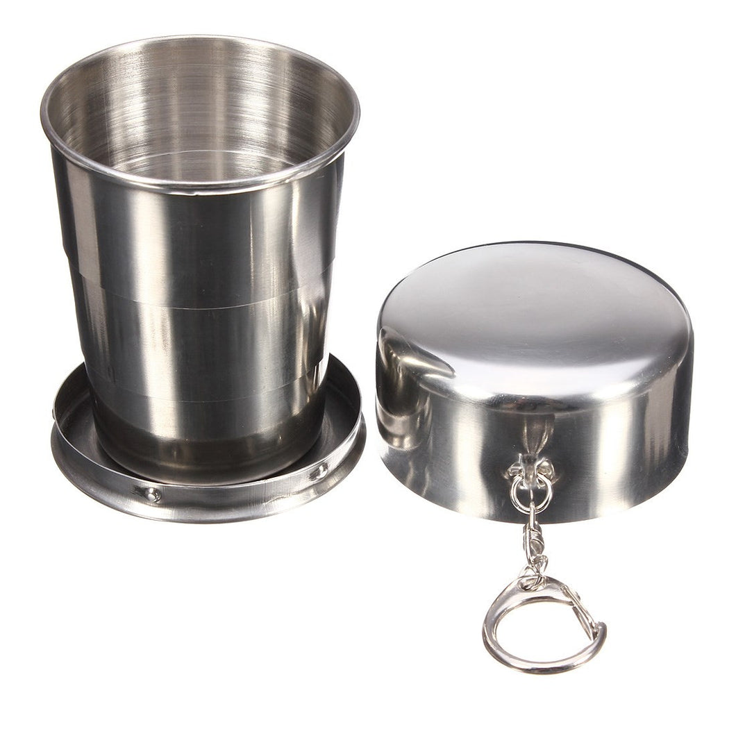 150ml Stainless Steel Foldable Drinkware Folding Telescopic Collapsible Water Cup Beer Mug Outdoor Travel kits Camping Supplies