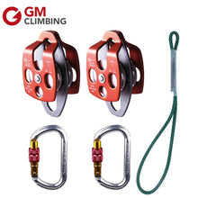 Double Sheave Climbing Pulleys 32KN, Carabiner 25KN,  Prusik Loop, Rock Climbing Equipment