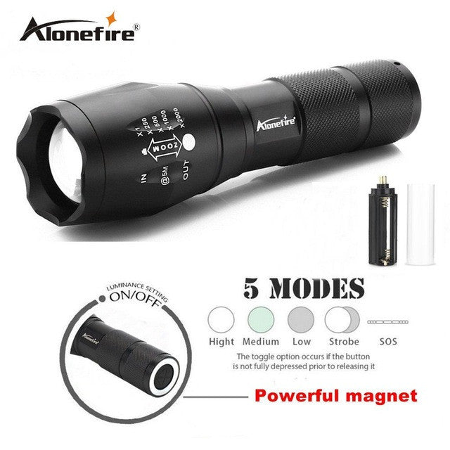 Flashlight, Aluminum Waterproof Zoomable 1X - 2000X