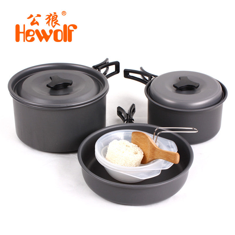 Cookware, Outdoor 8pcs/set Aluminmum Portable for Camping, Hiking, Backpacking. Picnic cookware with Pots, Frying Pan, bowls and ladels for 2-3 People