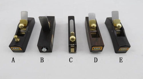 Hand Planes, 5 pc. Set. High Quality Ebony Bodies, Brass Frogs, Heavy Steel Blades. Purchase in Set.