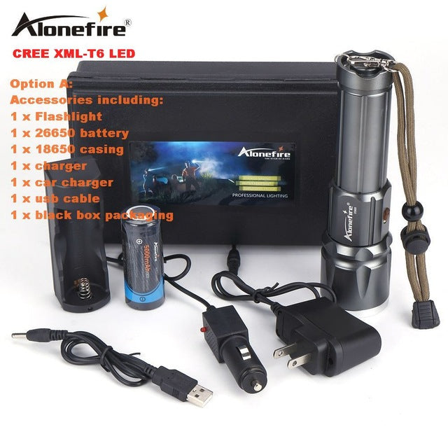 Flashlight. AloneFire X900 CREE XML T6 LED  Zoomable Flashlight