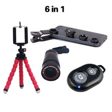 Phone Telephoto Camera Lens, 6 in 1 Accessory Kit with 8x Zoom Telescopic Lens,  Flexible Mini Tripod, Phone 3 in 1 Lens with Bluetooth Shutter for Smartphone