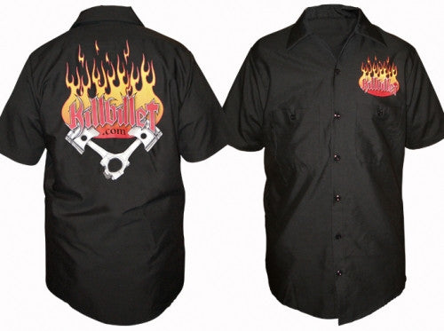"KillBillet ""Flaming Pistons"" Dickie Work Shirt"