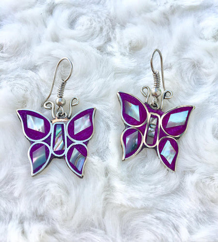 Colorful Abalone Sea Shell Butterfly Earrings