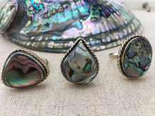 Large Beautiful Abalone Sea Shell Rings