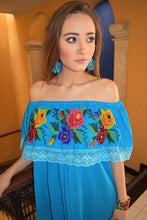 Turquesa Caribe Cross Stitch Campesina Off the Shoulder Blouse