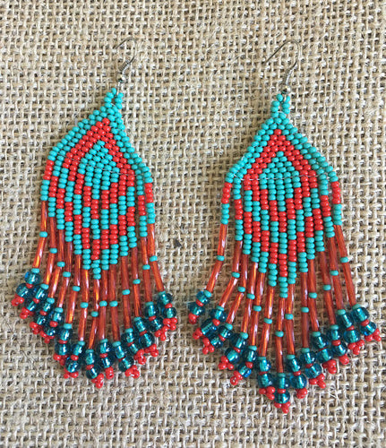 Turquoise and Red Beaded Pyramid Earrings
