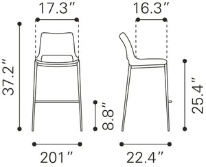 Dante Barstool (S/2) - Bar and Counter Height