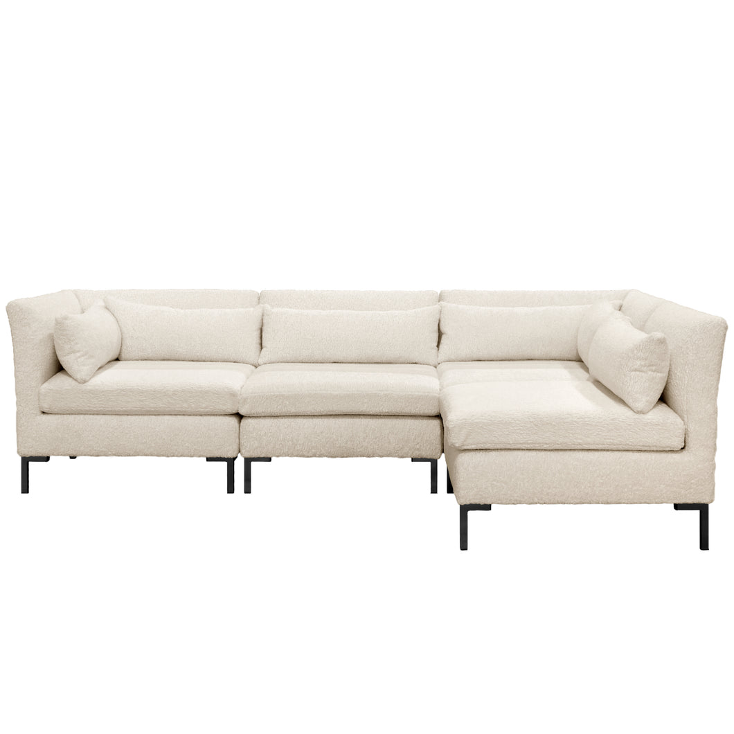 Amelia Sectional in Sheepskin Natural