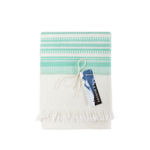 Load image into Gallery viewer, White and Mint Kitchen Towel