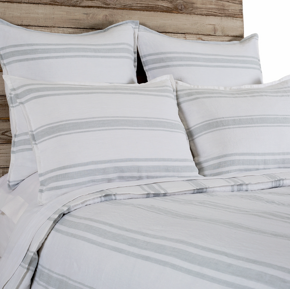 Jaxon Duvet and Sham - White/Ocean