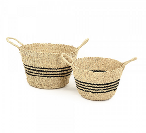 Simple Stripe Woven Basket (S/2)