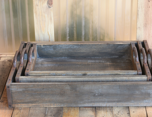 Rustic Wood Trays (S/3)