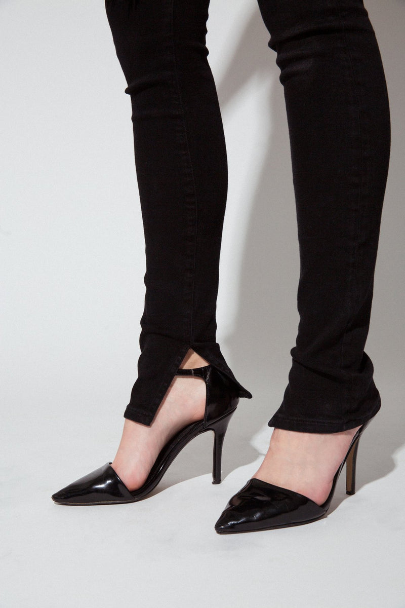 "Up Close View of Hem on Midheaven's High-Rise Split Hem Skinny  Details: Model is 6' and is wearing 4"" heels. Rise: 10"" Inseam: 36"" Leg Opening: 10"" Fabric contents: 98% Cotton - 2% Elastane"