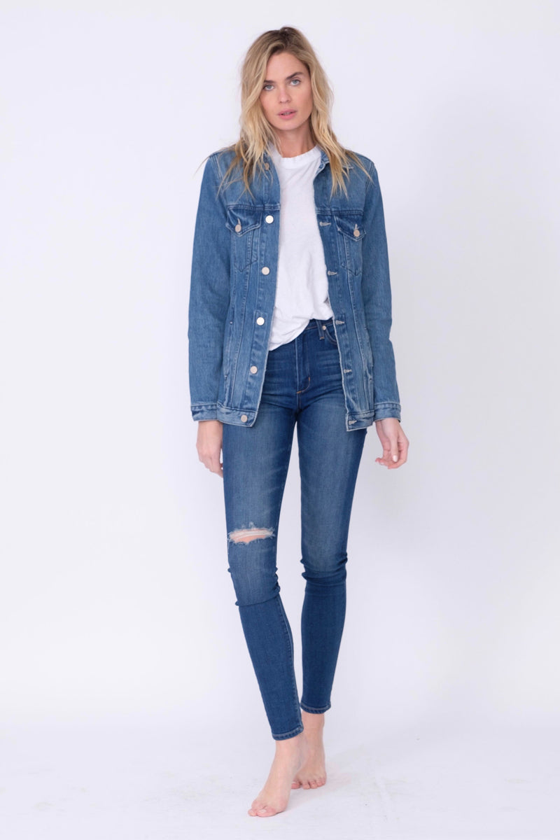 Front View of Midheaven's Long Line Denim Jacket in Indigo  Details: Fabric Contents 100% Cotton