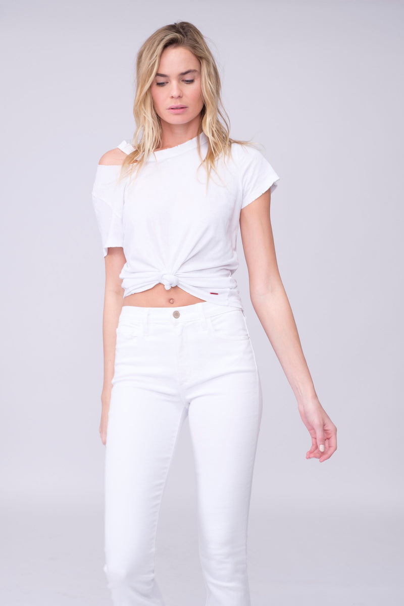 "Front View Up Close of Midheaven's Mid-Rise White Flare     Details: Model is 6' and is wearing 4"" heels. Rise: 9.75"" Inseam: 38"" Leg Opening: 21"" Fabric contents: 98% Cotton - 2% Elastane NOTE: Fabric will stretch with wear. Consider sizing down."