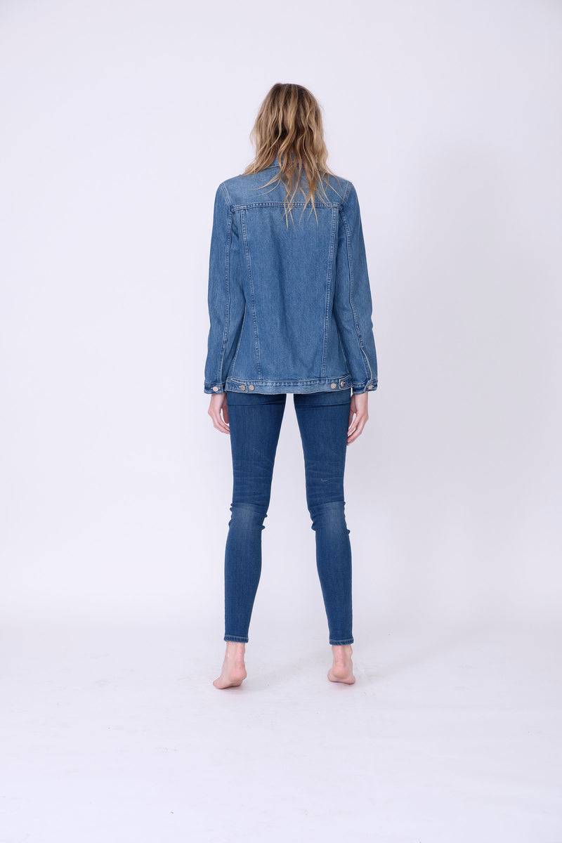 Back View of Midheaven's Long Line Denim Jacket in Indigo  Details: Fabric Contents 100% Cotton