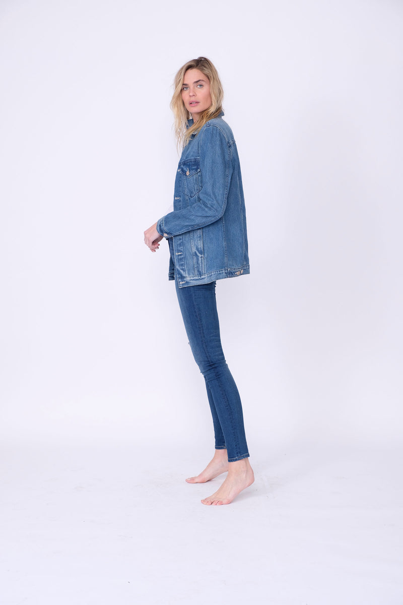 Side View of Midheaven's Long Line Denim Jacket in Indigo Details: Fabric Contents 100% Cotton
