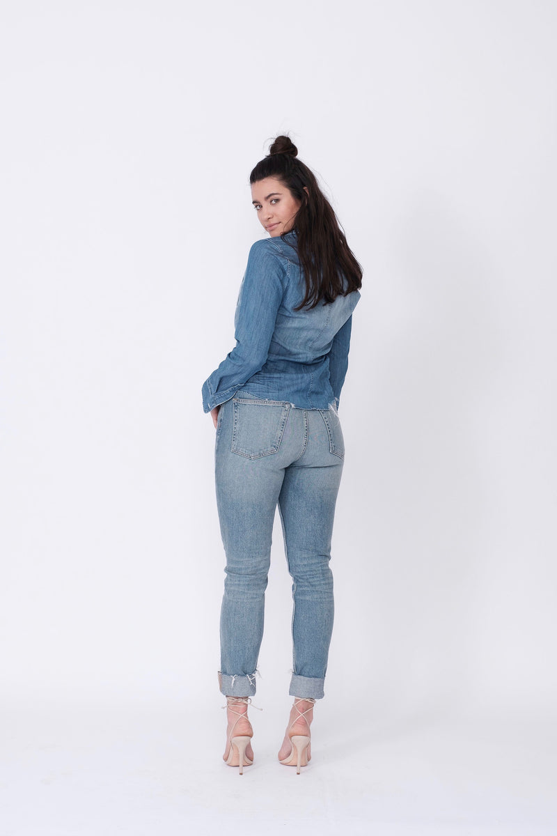 "Back View of Midheaven's High-Rise Vintage Wash Button Fly Skinny w/ Raw Hem    Details: Model is 5' 9"" and is wearing 4"" heels. Rise: 10 3/4"" Inseam: 28"" Leg Opening: 10.5"" Fabric contents: 98% Cotton - 2% Elastane"