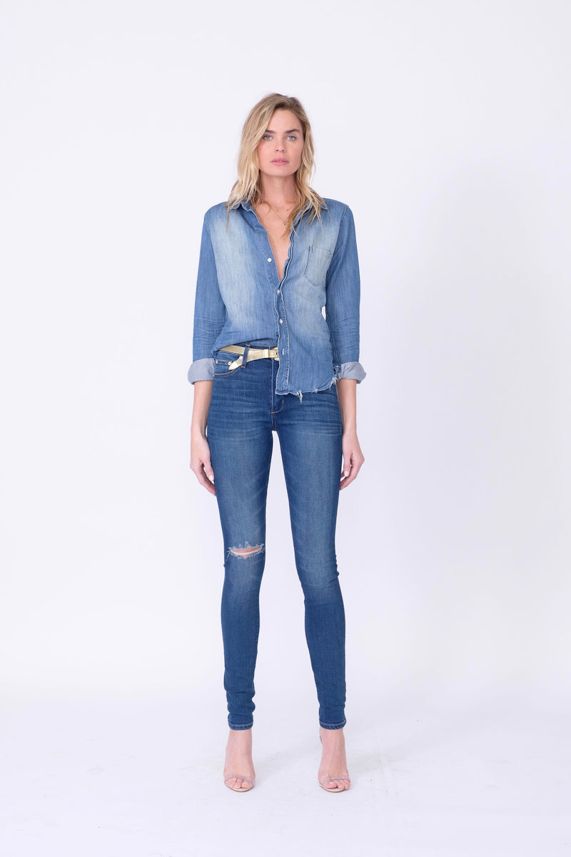 "Front View of Midheaven's High-Rise Indigo Skinny    Details: Model is 6' and is wearing 4"" heels. Rise: 10"" Inseam: 35.5"" Leg Opening: 9.5"" Fabric contents: 98%Cotton - 2%Elastane"