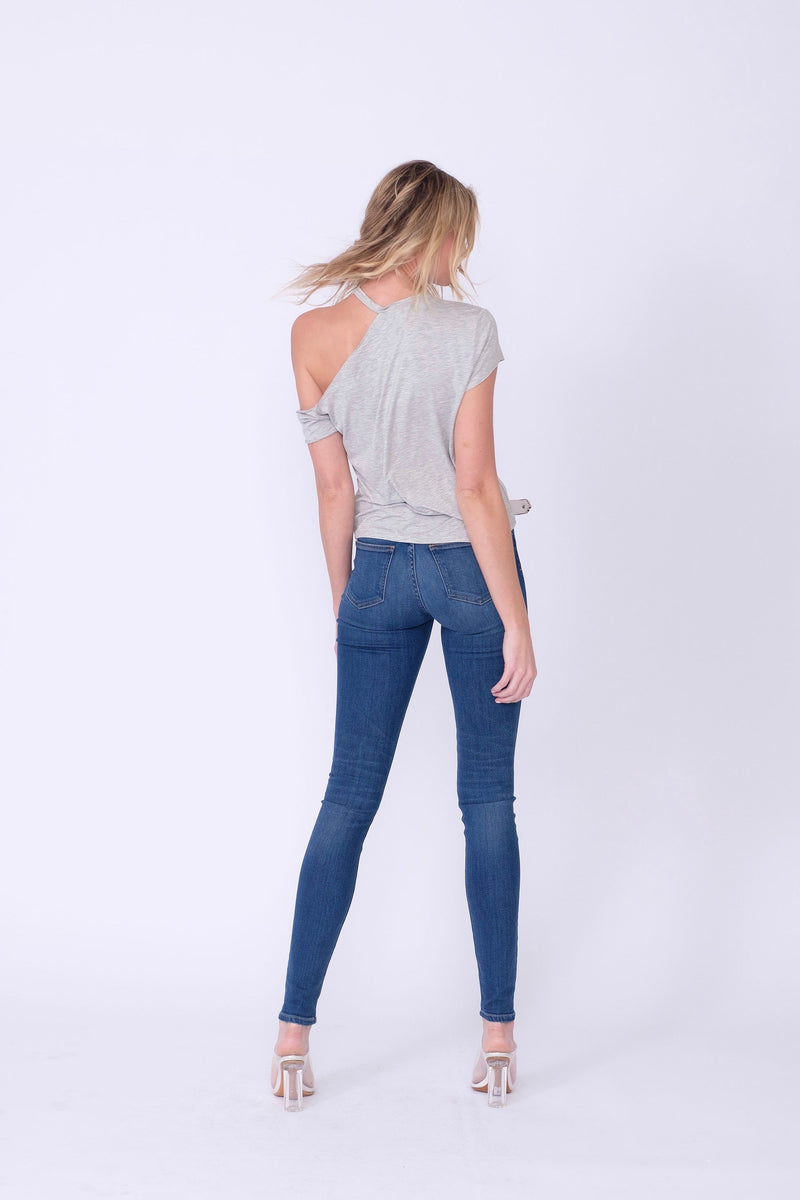 "Back View of Midheaven's High-Rise Indigo Skinny    Details: Model is 6' and is wearing 4"" heels. Rise: 10"" Inseam: 35.5"" Leg Opening: 9.5"" Fabric contents: 98%Cotton - 2%Elastane"