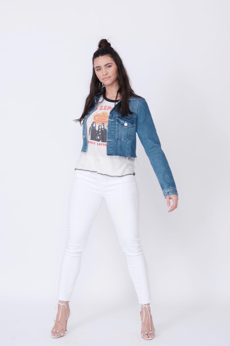 Front View of Midheaven's Cropped Denim Jacket in Indigo Details: Fabric contents 100% Cotton