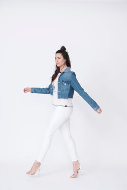 Side View of Midheaven's Cropped Denim Jacket  in Indigo Details: Fabric contents 100% Cotton