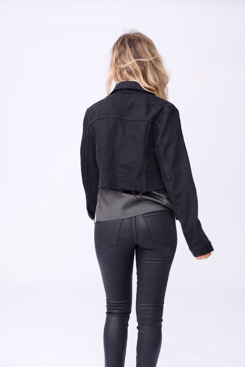 Back View of Midheaven's Cropped Denim Jacket in Black  Details: Fabric contents 100% Cotton