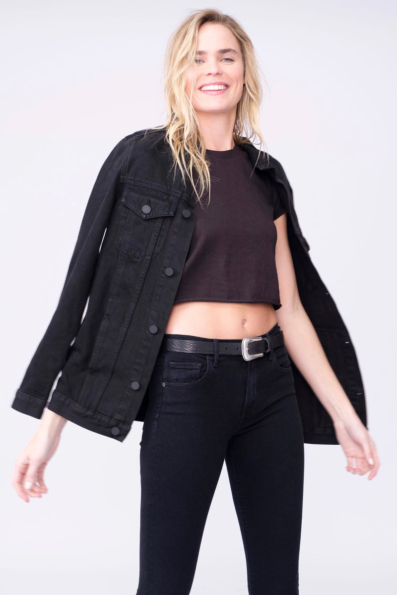 Front View of Midheaven's Long Line Denim Jacket in Black  Details: Fabric Contents 100% Cotton