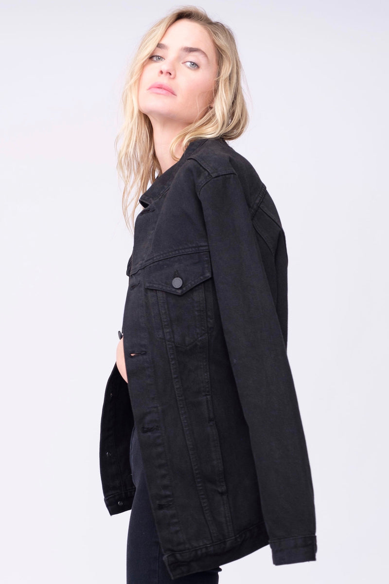 Side View of Midheaven's Long Line Denim Jacket in Black  Details: Fabric Contents 100% Cotton
