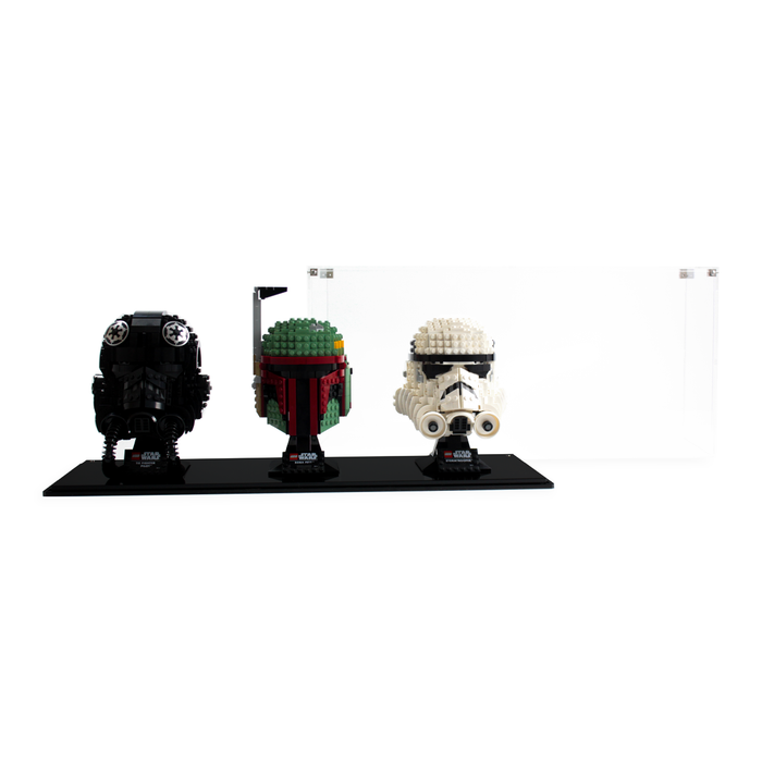 Triple display case for three LEGO Star Wars: Helmets (75274 75276 75277) - Wicked Brick