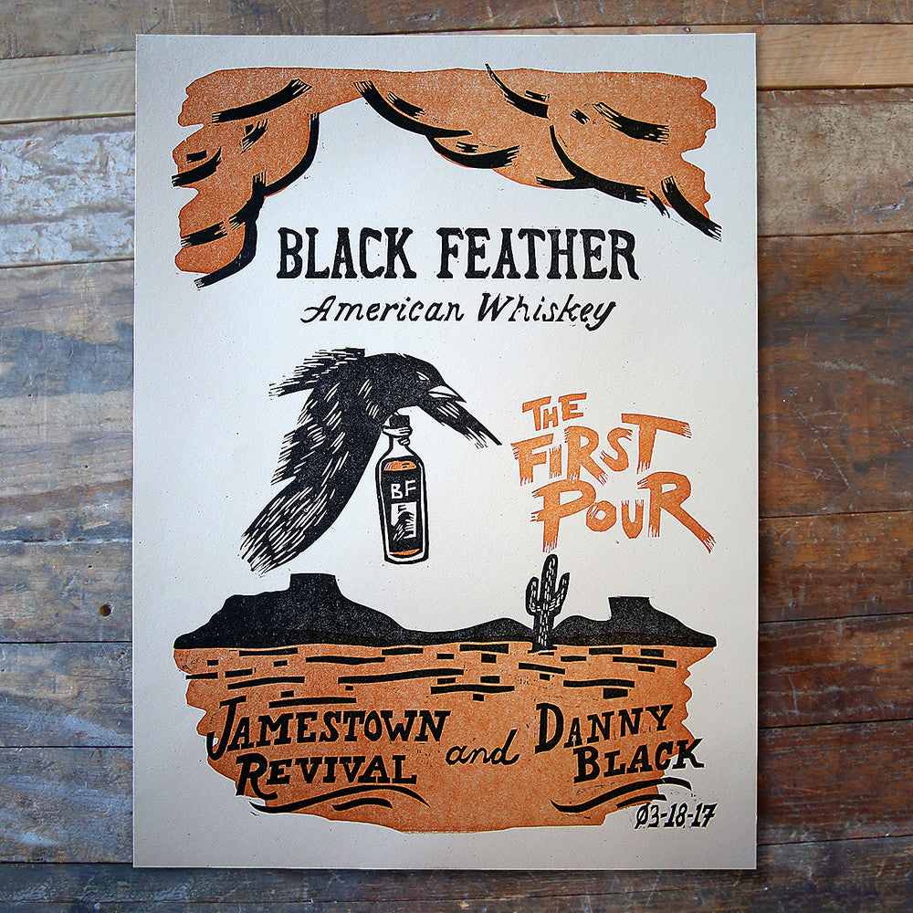 Black Feather First Pour Event Poster