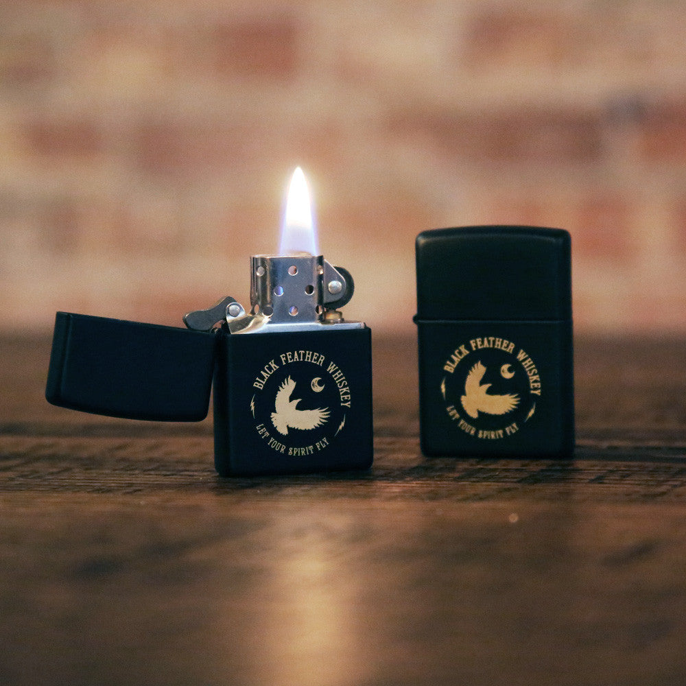 Black Feather Zippo Lighter