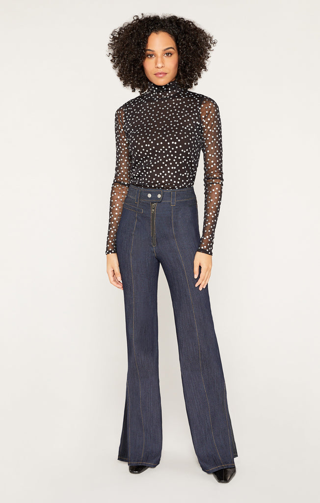 Mesh Sequin Turtleneck