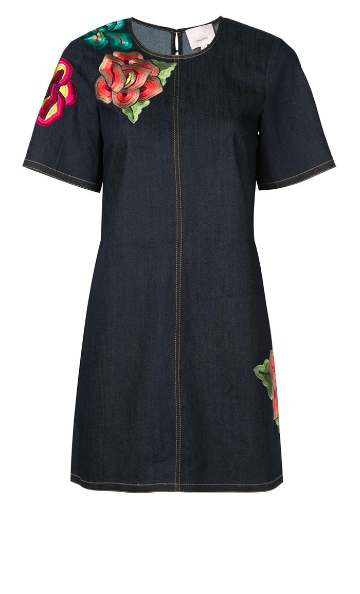 Denim Embroidered Ashton Dress