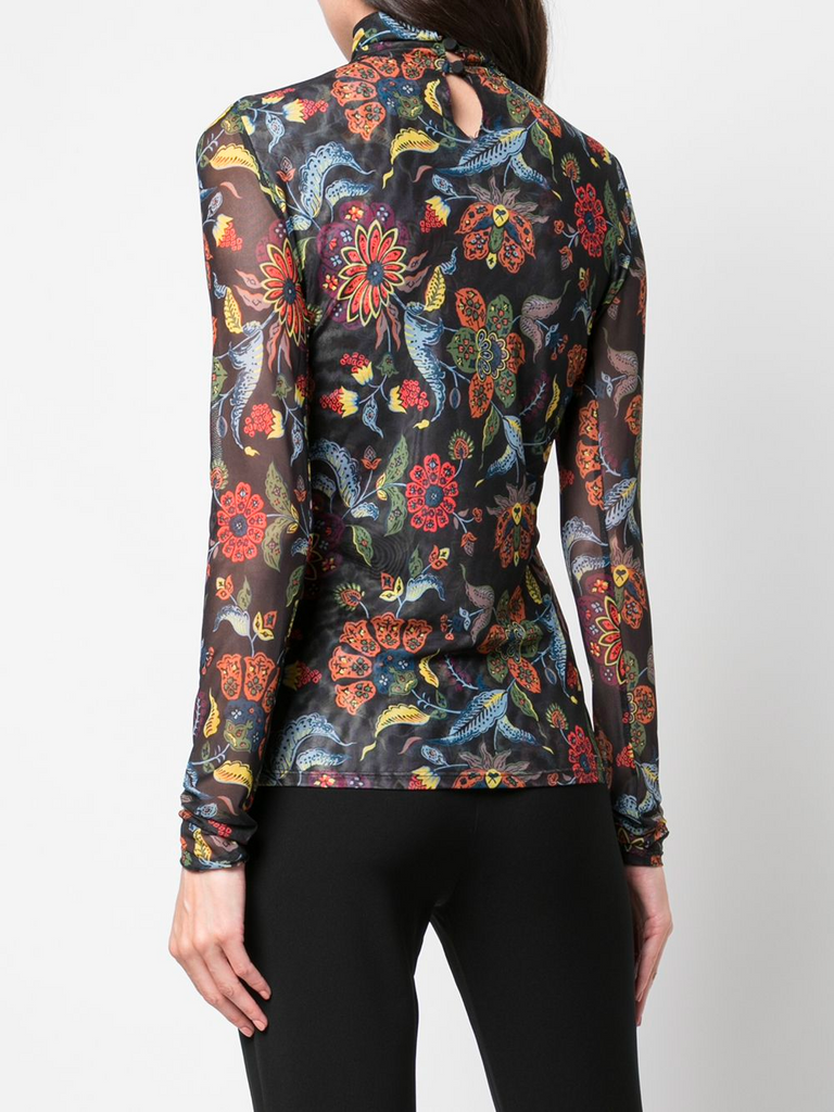 Paisley Mesh Turtleneck