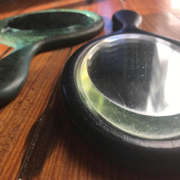 Close up of antique hand mirrors