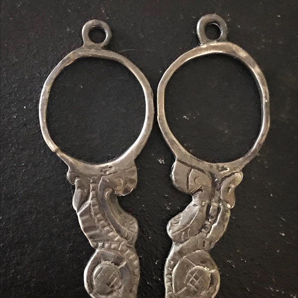 Antique scissor finger rings and hanging loops