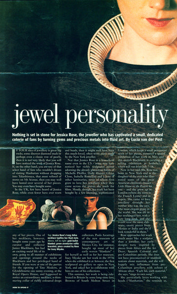 Financial Times magazine article about artist and jeweler Jessica Rose
