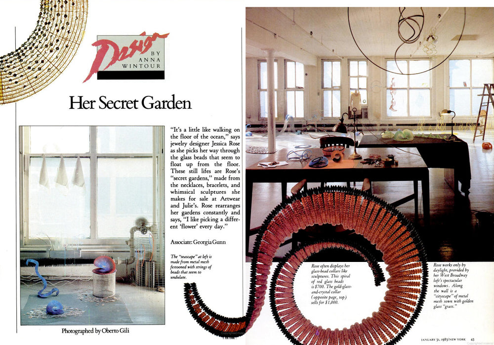 Anna Wintour article about artist and jewelry designer Jessica Rose in New York Magazine