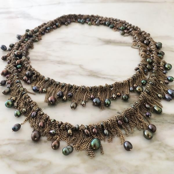 Chain Fringe and Peacock Pearl Necklace
