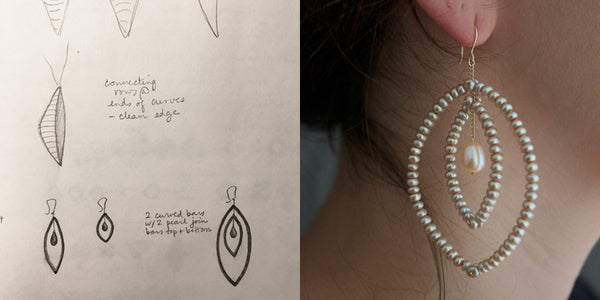 Design sketch next to finished pearl and gold Pod earrings