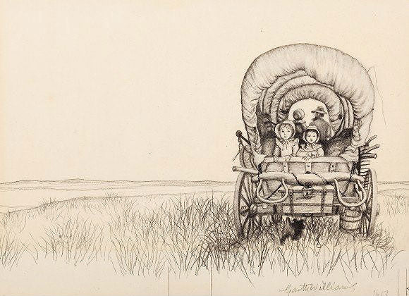 Covered prairie wagon - Laura Ingalls Wilder Garth Williams illustration
