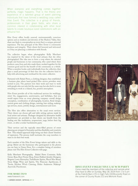 Cooperative Wedding Hive, Green Door magazine