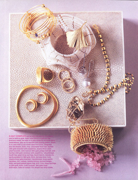 Oprah Magazine featuring Jessica Rose Pearl Ruffle bracelet and Bullet Cuff