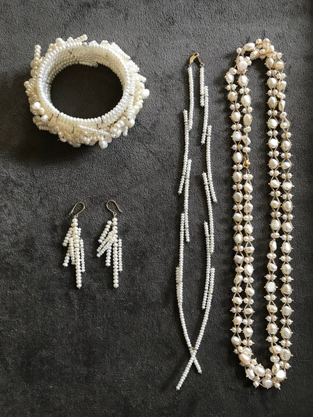 Pearl jewelry set made for bride's wedding